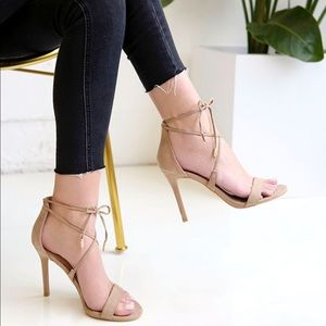 NWOT Tan Nude Taupe Lace Up Heel Sandal Stiletto
