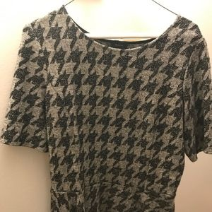 Theory peplum waist houndstooth shirt