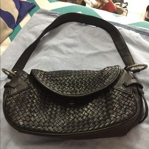 Genuine leather weave style blk bag