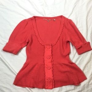 Anthropologie knitted & knotted salmon cardigan