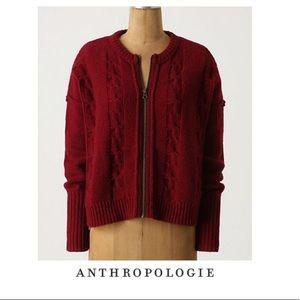 Anthropologie Sparrow Red Zip Up Cardigan