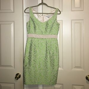 Green flower pattern mid length dress