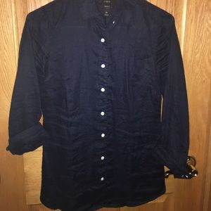 J. Crew Linen Perfect Fit button up - Navy