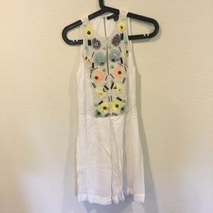 French Connection white floral beaded dress