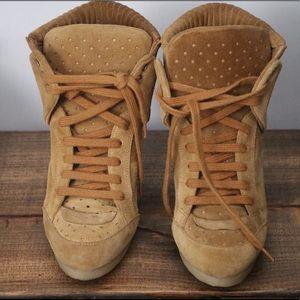 Zara Suede Wedge High Top Sneaker