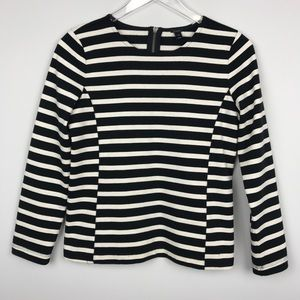 [J Crew] Side Seam Sailor Top Striped Black Ivory