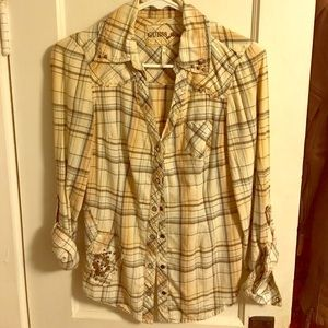 Guess button up shirt with distressing