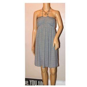 Old Navy Blk/Wht Striped Halter Dress Sundress