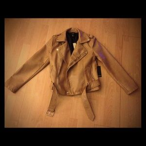 NWT motorcycle leather camel tan brown jacket faux