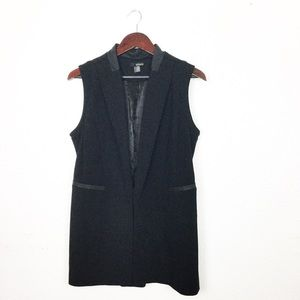 RENUAR STRUCTURED LONG BLACK VEST