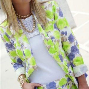 J Crew Factory Floral Jacket Blazer Lined