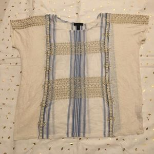 J. Crew Mixed Fabric Embroidered Top