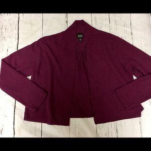 Eileen Fisher 100% Wool Cropped Cardigan