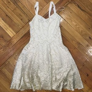 Free People Cream Gold Ombré Lace Dress