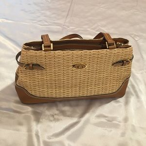 Etienne Aigner Wicker and Leather Handbag