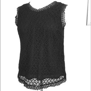 Black lace overlay tank top