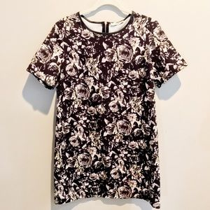 Trendy floral dress with leather trimming