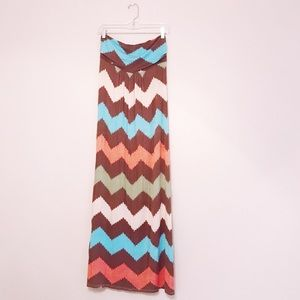 Young at Heart Chevron Strapless Maxi Dress