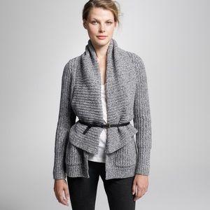 J. Crew Gray Chunky Shawl Collar Cardigan Sweater