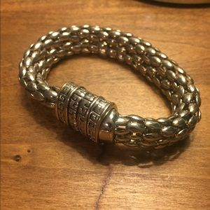 Chunky Silver Bracelet with Magnetic Closure