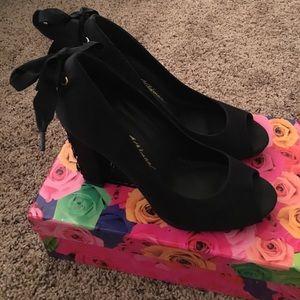 Beverly Feldman Black Satin Peep Toe Heels
