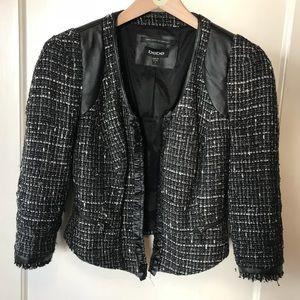 BEBE: Leather and Tweed Jacket