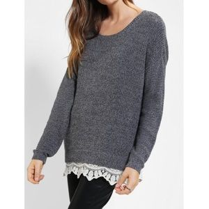 Urban Outfitters Lace Trim Sweater in Charcoal