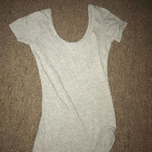 Gray Bodysuit, short sleeve with snap buttons