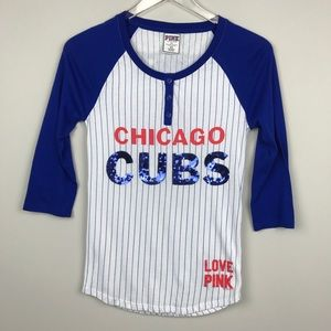 [Pink Victoria's Secret] Chicago Cubs Baseball Tee