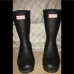 Matte Black Short Hunter Rain Boots