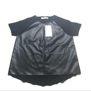 Zara knit leather  top