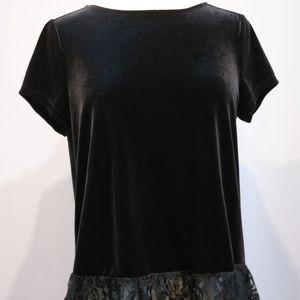 Adrianna Papell Black Velvet & Lace T Shirt