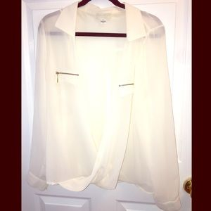 Forever 21 Cream Blouse w| Gold Zipper Accents