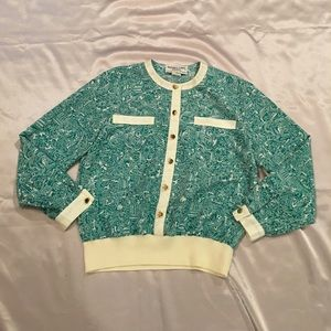 Vintage 80's Long Sleeve Green Print Blouse
