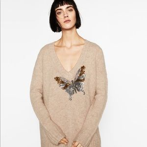Zara Knit butterfly sequined Knit cream sweater M
