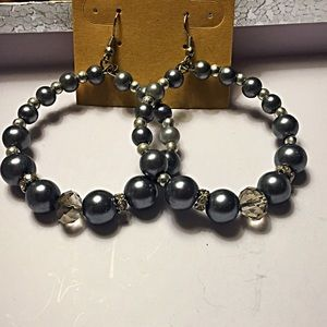 Jewelry - Gray hoop earrings
