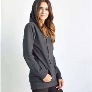 Tunic length hoodie with pocket
