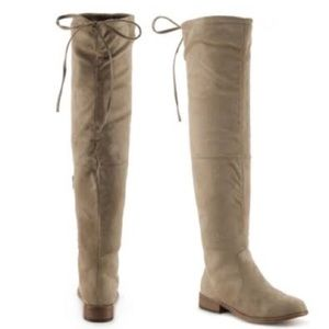 Suide Round toe the knee boots taupe