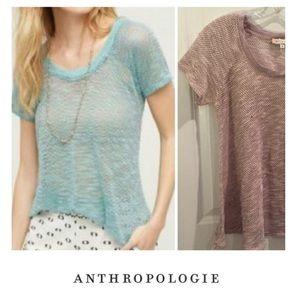 Anthropologie Erin + Ali Pink Knit Mesh Tee