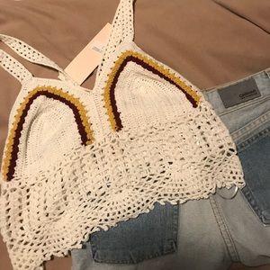 LF BNWT Crocheted Crop Top Crossover Straps Sz Sm