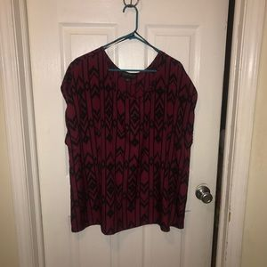 Maroon and black chevron top size 2x