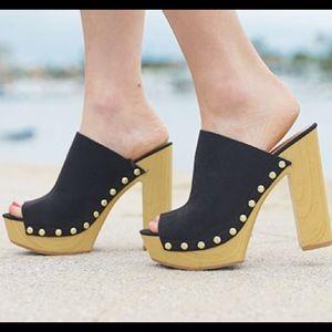 H&M platform mules wooden heel sandals