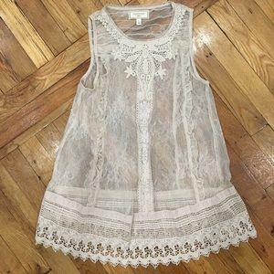 Anthropologie Sheer Lace Trim Tunic