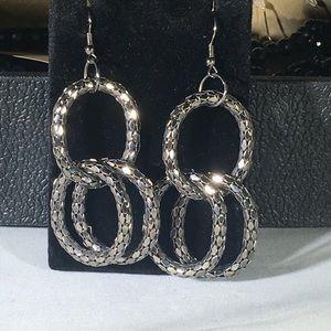 Dark metallic silver earrings
