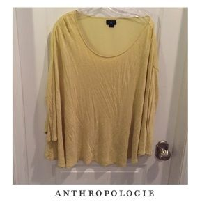 Anthropologie Deletta Yellow Heather Sheer Top