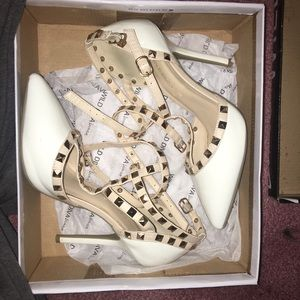 Studded White and Nude Heels