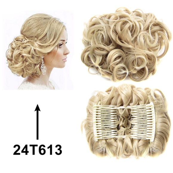 Accessories New Synthetic Hair Bun Extension Clip Blonde Curly