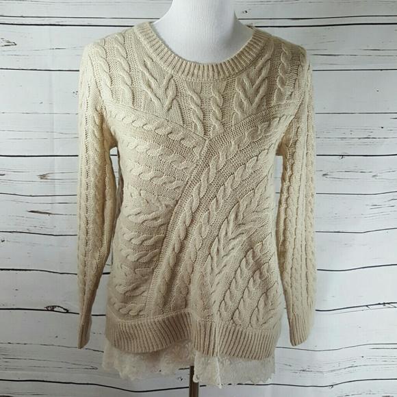 Monteau Sweaters - Monteau Cable Lace Sweater, L