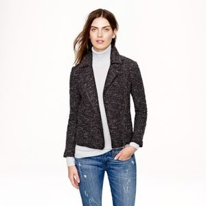 JCREW Midnight Tweed Boucle Motorcycle Knit Jacket
