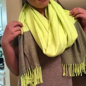 Neon yellow scarf with fringe